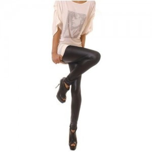 Spodnie damskie Glamour wet look 7/8 leggings, black, sizes 8/S, 10/M glossy latex legings new